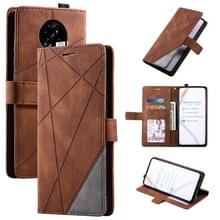 Voor Xiaomi Redmi K30 Pro Skin Feel Splicing Horizontal Flip Leather Case met Holder & Card Slots & Wallet & Photo Frame(Brown)
