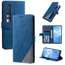Voor Xiaomi Mi 10 5G / Mi 10 Pro 5G-skin voel horizontale flip lederen hoes met Holder & Card Slots & Wallet & Photo Frame(Blauw)