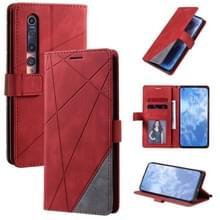 Voor Xiaomi Mi 10 5G / Mi 10 Pro 5G-skin voel horizontale flip lederen hoes met Holder & Card Slots & Wallet & Photo Frame(Red)