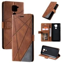Voor Xiaomi Redmi Note 9 Skin Feel Splicing Horizontal Flip Leather Case met Holder & Card Slots & Wallet & Photo Frame(Brown)