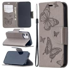 Voor iPhone 12 Embossing Two Butterflies Pattern Horizontal Flip PU Leather Case met Holder & Card Slot & Wallet & Lanyard(Grey)