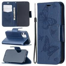 Voor iPhone 12 Embossing Two Butterflies Pattern Horizontal Flip PU Leather Case met Holder & Card Slot & Wallet & Lanyard(Blue)