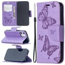 Voor iPhone 12 Embossing Two Butterflies Pattern Horizontal Flip PU Leather Case met Holder & Card Slot & Wallet & Lanyard(Paars)