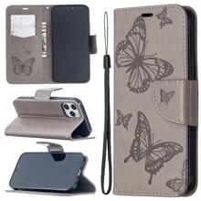 Voor iPhone 12 Pro / Max Embossing Two Butterflies Pattern Horizontal Flip PU Leather Case met Holder & Card Slot & Wallet & Lanyard(Grijs)