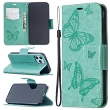 Voor iPhone 12 Pro / Max Embossing Two Butterflies Pattern Horizontal Flip PU Leather Case met Holder & Card Slot & Wallet & Lanyard(Groen)