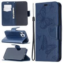 Voor iPhone 12 Pro Max Embossing Two Butterflies Pattern Horizontal Flip PU Leather Case met Holder & Card Slot & Wallet & Lanyard(Blauw)