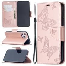Voor iPhone 12 Pro Max Embossing Two Butterflies Pattern Horizontal Flip PU Leather Case met Holder & Card Slot & Wallet & Lanyard(Rose Gold)