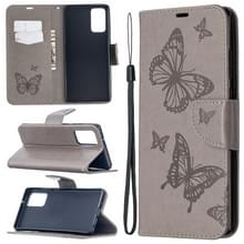 Voor Samsung Galaxy Note20 Embossing Two Butterflies Pattern Horizontal Flip PU Leather Case met Holder & Card Slot & Wallet & Lanyard(Grey)