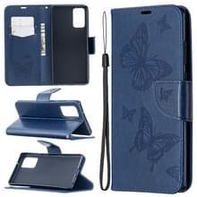 Voor Samsung Galaxy Note20 Embossing Two Butterflies Pattern Horizontal Flip PU Leather Case met Holder & Card Slot & Wallet & Lanyard(Blue)