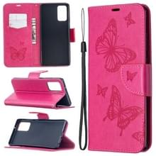 Voor Samsung Galaxy Note20 Embossing Two Butterflies Pattern Horizontal Flip PU Leather Case met Holder & Card Slot & Wallet & Lanyard(Rose Red)