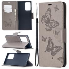 Voor Samsung Galaxy Note20 Ultra Embossing Two Butterflies Pattern Horizontal Flip PU Leather Case met Holder & Card Slot & Wallet & Lanyard(Grey)