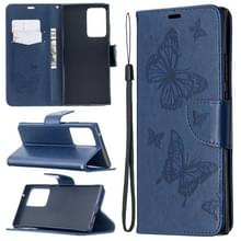 Voor Samsung Galaxy Note20 Ultra Embossing Two Butterflies Pattern Horizontal Flip PU Leather Case met Holder & Card Slot & Wallet & Lanyard(Blue)