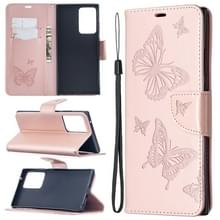 Voor Samsung Galaxy Note20 Ultra Embossing Two Butterflies Pattern Horizontal Flip PU Leather Case with Holder & Card Slot & Wallet & Lanyard(Rose Gold)