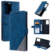 Voor Samsung Galaxy Note20 Ultra Skin Feel Splicing Horizontal Flip Leather Case met Holder & Card Slots & Wallet & Photo Frame(Blauw)