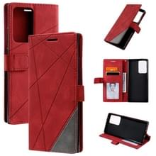 Voor Samsung Galaxy Note20 Ultra Skin Feel Splicing Horizontal Flip Leather Case met Holder & Card Slots & Wallet & Photo Frame(Red)