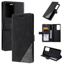 Voor Samsung Galaxy Note20 Ultra Skin Feel Splicing Horizontal Flip Leather Case met Holder & Card Slots & Wallet & Photo Frame(Zwart)