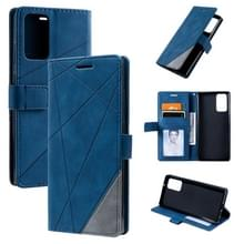 Voor Samsung Galaxy Note20 Skin Feel Splicing Horizontal Flip Leather Case met Holder & Card Slots & Wallet & Photo Frame(Blauw)