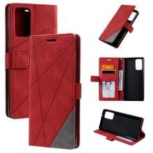 Voor Samsung Galaxy Note20 Skin Feel Splicing Horizontal Flip Leather Case met Holder & Card Slots & Wallet & Photo Frame(Red)
