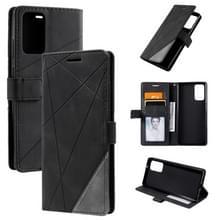 Voor Samsung Galaxy Note20 Skin Feel Splicing Horizontal Flip Leather Case met Holder & Card Slots & Wallet & Photo Frame(Zwart)