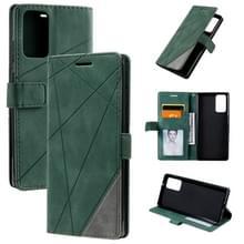 Voor Samsung Galaxy Note20 Skin Feel Splicing Horizontal Flip Leather Case met Holder & Card Slots & Wallet & Photo Frame(Groen)