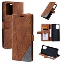 Voor Samsung Galaxy Note20 Skin Feel Splicing Horizontal Flip Leather Case met Holder & Card Slots & Wallet & Photo Frame(Brown)