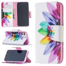 Voor iPhone 12 Gekleurd tekenpatroon Horizontaal Flip Lederen hoesje met houder & kaartslots & portemonnee(Zonnebloem)