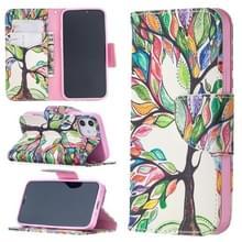 Voor iPhone 12 Gekleurd tekenpatroon Horizontaal Flip Lederen hoesje met houder & kaartslots & portemonnee(Levensboom)