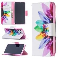Voor iPhone 12 Max / 12 Pro Gekleurd tekenpatroon Horizontaal Flip Lederen hoesje met Houder & Kaart Slots & Wallet(Zonnebloem)