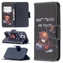 Voor iPhone 12 Max / 12 Pro Gekleurd tekenpatroon Horizontaal Flip Lederen hoesje met Houder & Kaart Slots & Wallet(Bear)
