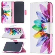 Voor iPhone 12 Pro Max Gekleurd tekenpatroon horizontaal flip lederen hoesje met houder & kaartslots & portemonnee(Zonnebloem)
