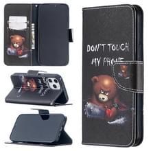 Voor iPhone 12 Pro Max Gekleurd tekenpatroon horizontaal flip lederen hoesje met houder & kaartslots & portemonnee(Bear)