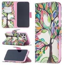 Voor iPhone 12 Pro Max Gekleurd tekenpatroon horizontaal flip lederen hoesje met houder & kaartslots & portemonnee(Levensboom)
