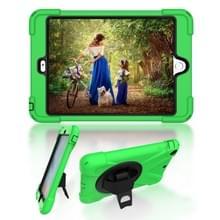 Voor iPad Mini 3 & 2 & 1 Schokbestendige Kleurrijke Siliconen + PC Beschermhoes met Holder & Hand Grip Strap(Groen)