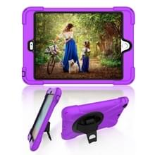 Voor iPad Mini 3 & 2 & 1 Schokbestendige Kleurrijke Siliconen + PC Beschermhoes met Holder & Hand Grip Strap(Paars)