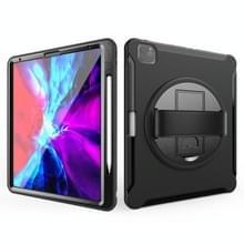 Voor iPad Pro 12 9 inch (2020) 360 graden rotatie PC+TPU Beschermhoes met houder & handbandje (zwart)