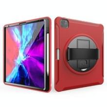 Voor iPad Pro 12 9 inch (2020) 360 graden rotatie PC+TPU beschermhoes met houder & handbandje (rood)