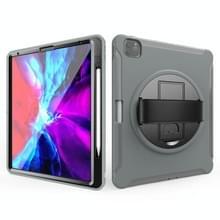 Voor iPad Pro 12 9 inch (2020) 360 graden rotatie PC+TPU Beschermhoes met houder & handbandje (grijs)