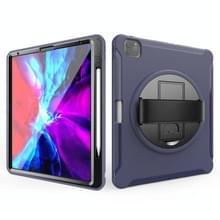 Voor iPad Pro 12 9 inch (2020) 360 graden rotatie PC+TPU Beschermhoes met houder & handbandje (blauw)