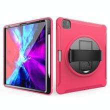 Voor iPad Pro 12 9 inch (2020) 360 graden rotatie PC+TPU Beschermhoes met houder & handbandje (rosérood)