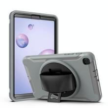 Voor Samsung Galaxy SM-T307 360 Graden Rotatie PC+TPU Beschermhoes met Holder & Hand Strap & Pen Slot(Grijs)