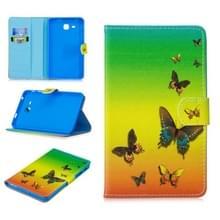 Voor Samsung Galaxy Tab A7.0 (2016) T280 Stitching Horizontale Flip Lederen behuizing met Holder & Card Slots (Rainbow Butterfly)