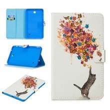Voor Samsung Galaxy Tab 4 8.0 T330 Stitching Horizontale Flip Lederen case met Holder & Card Slots & Sleep / Wake-up Function(Cat en Butterfly)