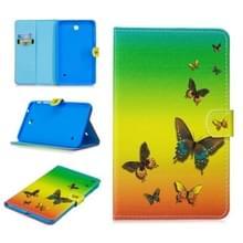 Voor Samsung Galaxy Tab 4 8.0 T330 Stitching Horizontale Flip Lederen case met Holder & Card Slots & Sleep / Wake-up Functie(Rainbow Butterfly)