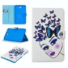 Voor Samsung Galaxy Tab 4 8.0 T330 Stitching Horizontale Flip Lederen case met Holder & Card Slots & Sleep / Wake-up Functie(Butterfly Girl)