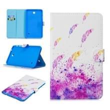 Voor Samsung Galaxy Tab 4 8.0 T330 Stitching Horizontale Flip Lederen case met Holder & Card Slots & Sleep / Wake-up Functie(Aquacolor Feathers)