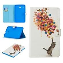 Voor Samsung Galaxy Tab E 8.0 T375 Stitching Horizontale Flip Lederen case met Holder & Card Slots (Cat en Butterfly)