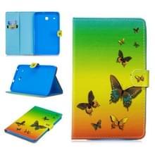 Voor Samsung Galaxy Tab E 8.0 T375 Stitching Horizontale Flip Lederen case met Holder & Card Slots (Rainbow Butterfly)