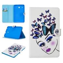 Voor Samsung Galaxy Tab E 8.0 T375 Stitching Horizontale Flip Lederen case met Holder & Card Slots (Butterfly Girl)