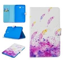 Voor Samsung Galaxy Tab E 8.0 T375 Stitching Horizontale Flip Lederen kast met Holder & Card Slots (Aquarel Feathers)