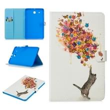 Voor Samsung Galaxy Tab E T560 Stitching horizontale flip lederen hoes met Holder & Card Slots (Cat en Butterfly)